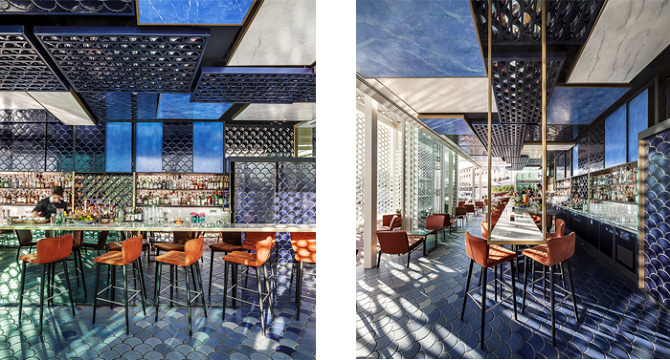 bluewave cocktail bar el equipo creativo interior design studio barcelona - Blue Restaurant Design